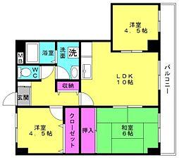 兵庫県加古川市別府町新野辺北町6丁目の賃貸マンションの間取り