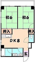 キャッスル松弥[403号室]の間取り