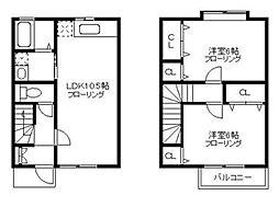 [テラスハウス] 神奈川県横浜市緑区白山2丁目 の賃貸【/】の間取り