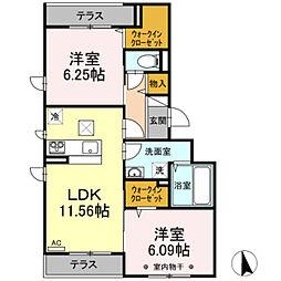 (仮)D-room長峰A棟 2階2LDKの間取り