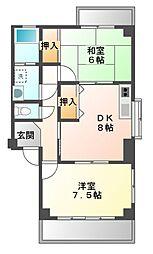 愛知県豊橋市新栄町字南小向の賃貸アパートの間取り