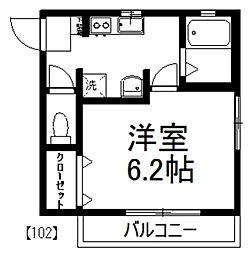グリーンハイム富士見[102号室]の間取り