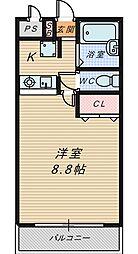 大阪府堺市堺区材木町西2丁の賃貸マンションの間取り