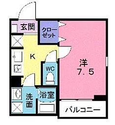 東武東上線 朝霞台駅 徒歩6分の賃貸アパート 3階1Kの間取り
