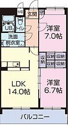 静岡県袋井市愛野南4丁目の賃貸アパートの間取り