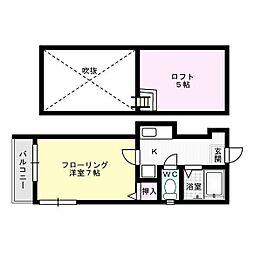 ルピエ片江II[203号室]の間取り