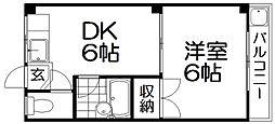 京阪本線 萱島駅 徒歩10分の賃貸マンション 2階1DKの間取り