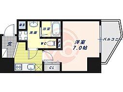 阪堺電気軌道上町線 松虫駅 徒歩3分の賃貸マンション 6階1Kの間取り