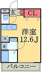 千葉都市モノレール 天台駅 徒歩6分の賃貸アパート 1階ワンルームの間取り