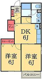 千葉県市原市ちはら台西1丁目の賃貸アパートの間取り