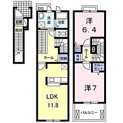 愛知環状鉄道 三河上郷駅 徒歩10分の賃貸アパート 2階2LDKの間取り