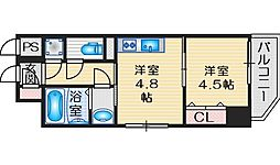 ファーストフィオーレ江坂グレイス 4階1DKの間取り