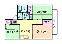 大阪府豊中市上野東2丁目の賃貸アパートの間取り
