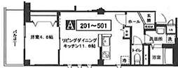ハーモニーコート月島 4階1LDKの間取り