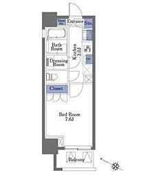 東京メトロ半蔵門線 神保町駅 徒歩4分の賃貸マンション 7階1Kの間取り