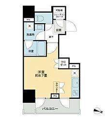 都営新宿線 岩本町駅 徒歩5分の賃貸マンション 7階ワンルームの間取り