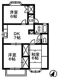 アンジェリーク上東C棟[2階]の間取り