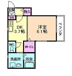 阪急宝塚本線 蛍池駅 徒歩5分の賃貸アパート 3階1Kの間取り