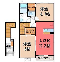 栃木県小山市大字喜沢の賃貸アパートの間取り