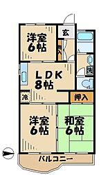 アドラブールK[3階]の間取り