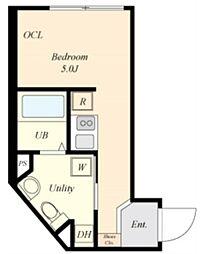 COVA HATAGAYA 1階ワンルームの間取り