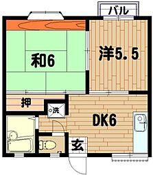 神奈川県横浜市神奈川区三ツ沢南町の賃貸アパートの間取り