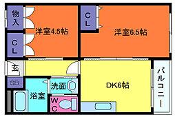 稗田マンション[2階]の間取り