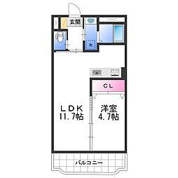 ASAマンション 3階1LDKの間取り