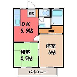 栃木県塩谷郡高根沢町光陽台4丁目の賃貸アパートの間取り