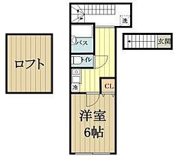 (仮称)バーミープレイス恋ヶ窪 2階1Kの間取り