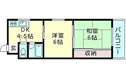 ルーべデンス 4階2Kの間取り