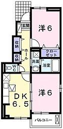 JR五日市線 秋川駅 徒歩29分の賃貸アパート 1階2DKの間取り
