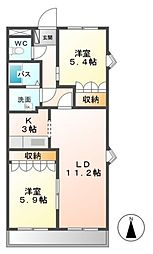 シュノンソー[3階]の間取り