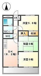 愛知県岡崎市羽根町字陣場の賃貸マンションの間取り