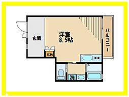 アワースタイルアパートメント 1階ワンルームの間取り