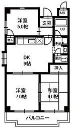 プラザオノベ[2階]の間取り