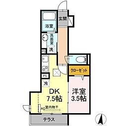 ルミエール 2階1DKの間取り
