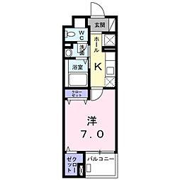 サンリット・レジデンスII 4階1Kの間取り