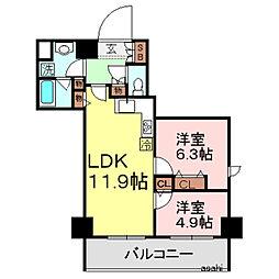 東京都台東区元浅草1丁目の賃貸マンションの間取り