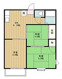 神奈川県座間市ひばりが丘3の賃貸アパートの間取り