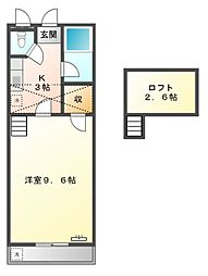 愛知県豊橋市野依町字東山の賃貸アパートの間取り