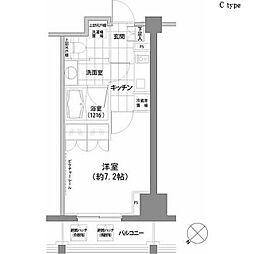 パークハビオ渋谷 2階1Kの間取り