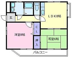 大阪府松原市上田5丁目の賃貸マンションの間取り