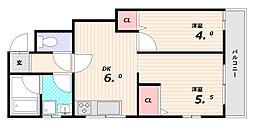 ハイツ石川[1階]の間取り