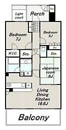東京都多摩市関戸4丁目の賃貸マンションの間取り