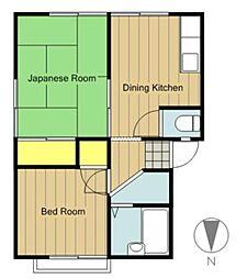 神奈川県相模原市緑区橋本8丁目の賃貸アパートの間取り