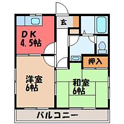 栃木県宇都宮市西原2丁目の賃貸マンションの間取り