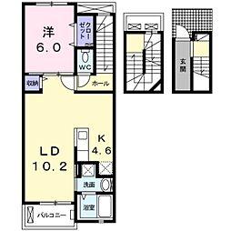 名鉄豊田線 三好ヶ丘駅 バス32分 莇生新田下車 徒歩3分の賃貸アパート 3階1LDKの間取り