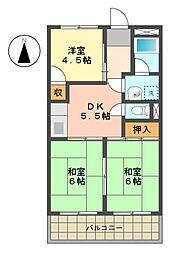 愛知県名古屋市名東区貴船1の賃貸アパートの間取り