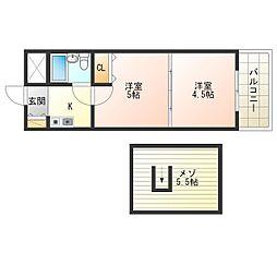 Osaka Metro中央線 阿波座駅 徒歩10分の賃貸マンション 9階2Kの間取り